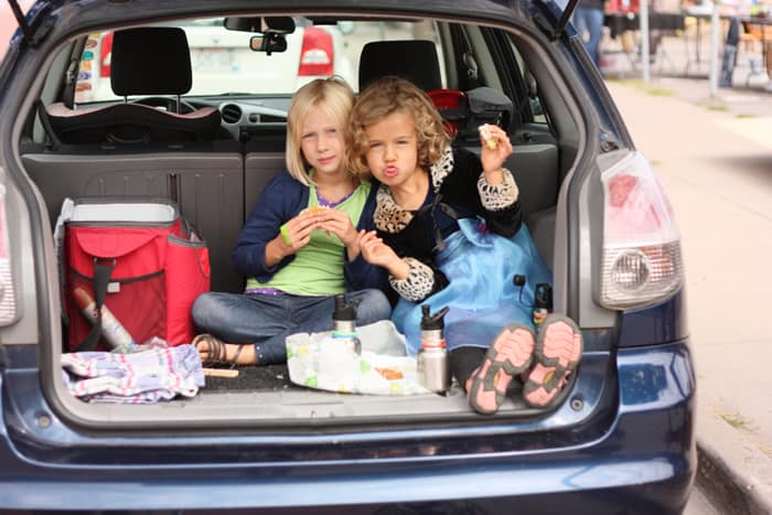 A picnic can be anywhere you want it, even in the trunk.