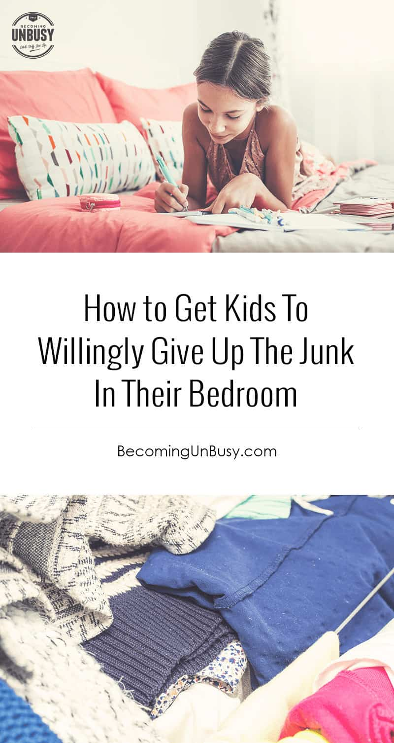 How to Get Kids To Willingly Give Up The Junk In Their Room With a Bedroom Swap *Great organizational tips for parents and teens. Love this idea and this Becoming UnBusy website.