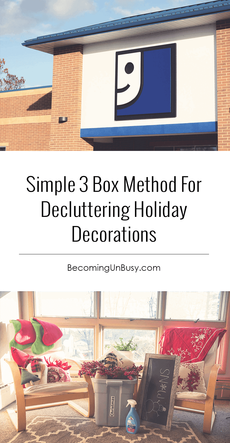 Simple Three Box Method for Decluttering Holiday Decorations #organize #declutter #Christmas *Love this post!