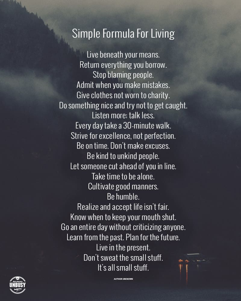 Simple Formula For Living - Free Printable