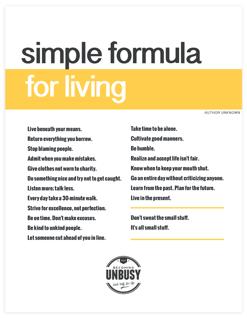 Simple Formula For Living - Free Printable