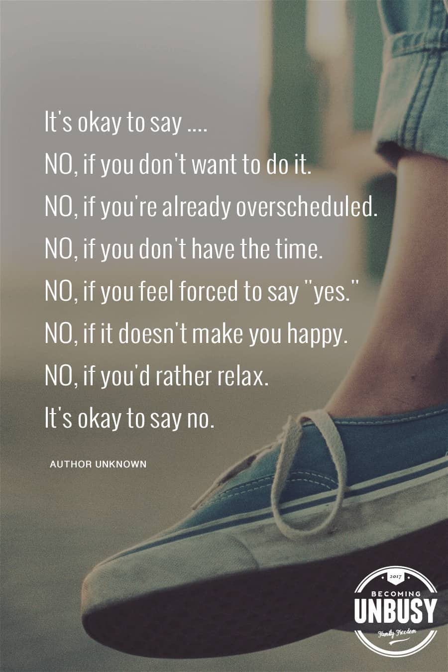 There are so many options of things we could be doing, but I've been opting out of all of it. No to the weekly obligations after school. No to practices and games. No to feeling overwhelmed and stressed. I say no and I say it often. #becomingunbusy *Great post on embracing simplicity