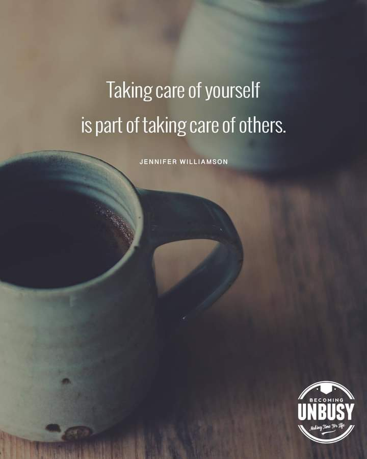 """A teal cup of coffee with the quotes about change, """"Taking care of yourself is part of taking care of others. """""""