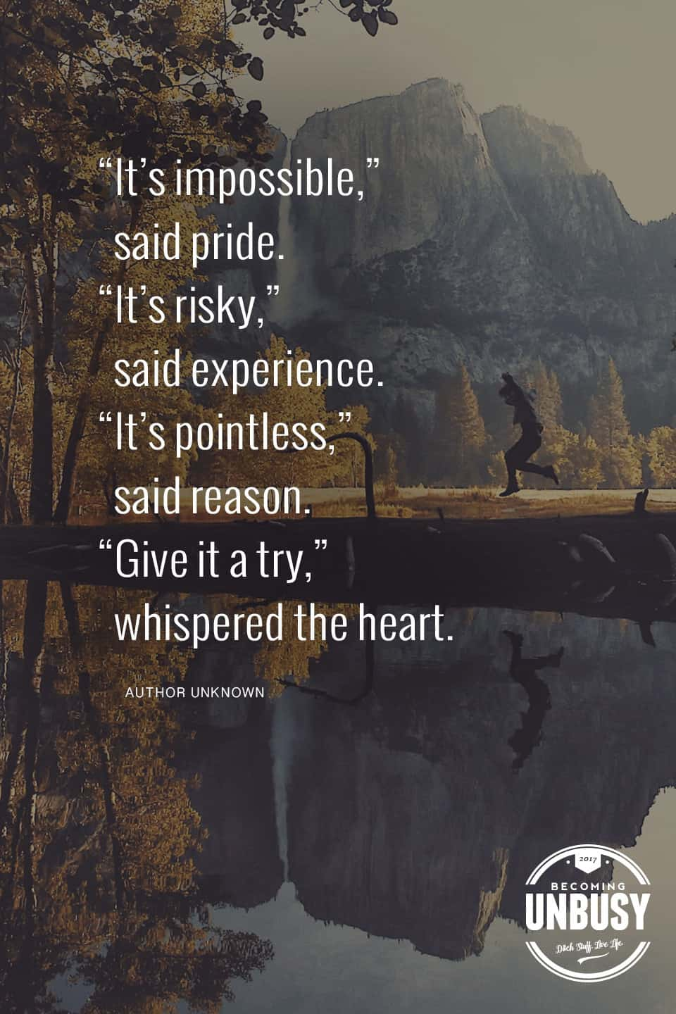 """An image of a child jumping into a pond in the mountains with the following quote on top, """"It's impossible,"""" said pride. """"It's risky, """" said experience. """"It's pointless,"""" said reason. """"Give it a try,"""" whispered the heart."""