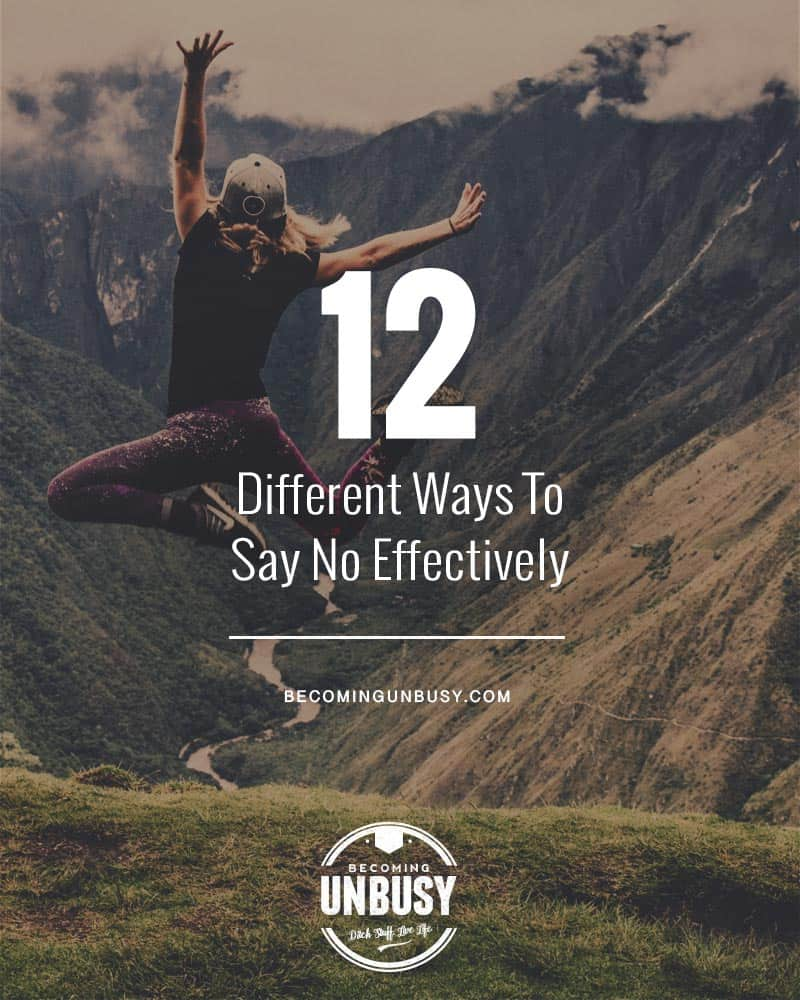 "Photo of a woman jumping in the air with the headline written overtop, ""How To Say No: 12 Different Ways To Say No Effectively."""
